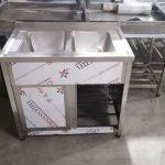سینک ظرفشویی دو لگن کابینتی با درب ریلی