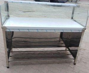 میز کار استیل با رف نما شیشه